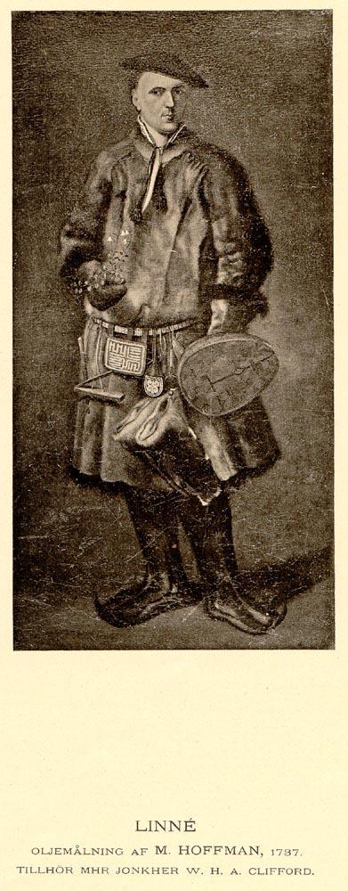 Linné i lappdräkt och utan peruk (målning av M. Hoffman)