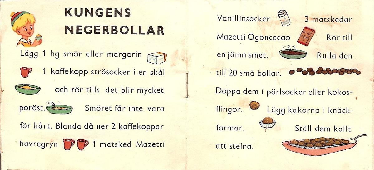 """""""CACAOKUNGENS RECEPTLÅDA"""" från MAZETTI, tryckt Wezäta Göteborg 1955"""