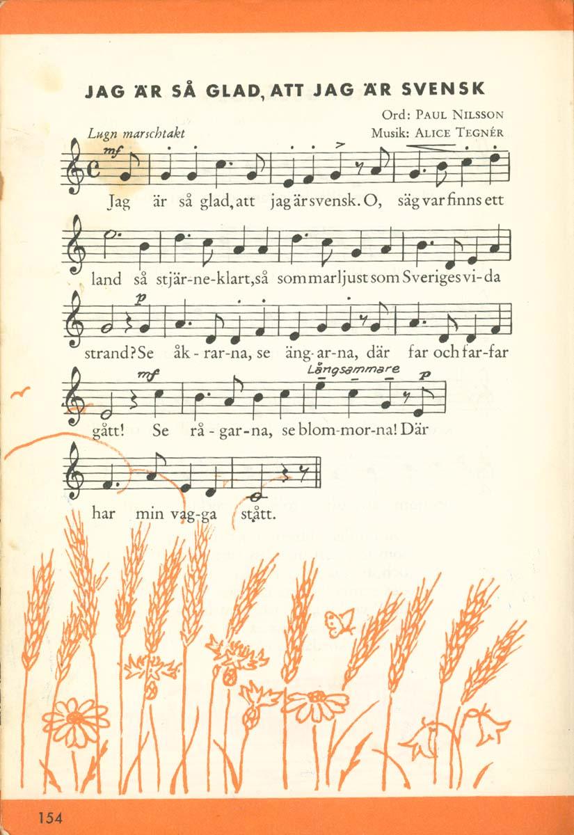 Jag är så glad att jag är svensk - Text och partitur