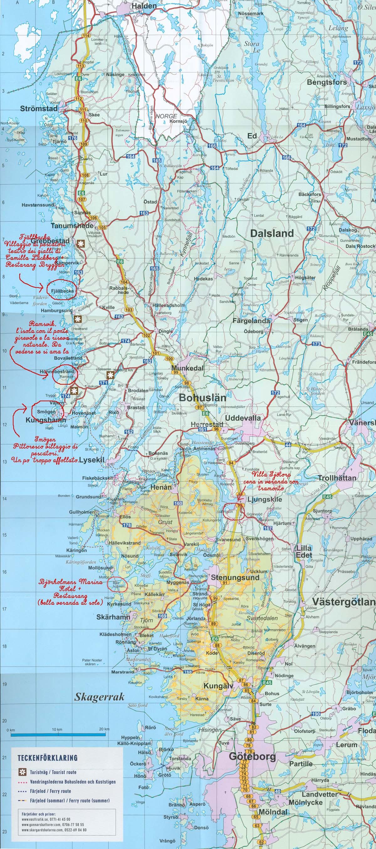 Mappa Bohuslän con note di viaggio