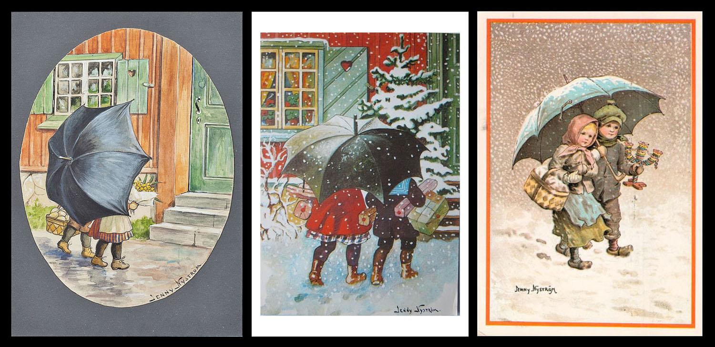 Jenny Nyström - Barn under paraply - tre vikort