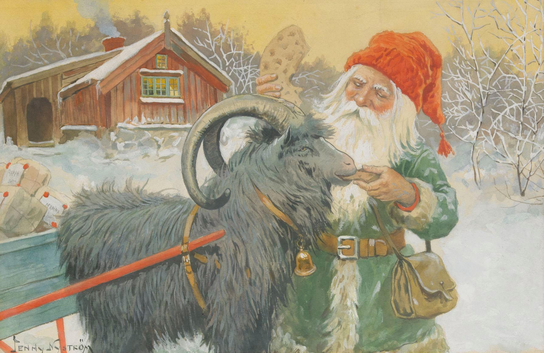 Jenny Nyström - God Jul - Tomte med Julklappar