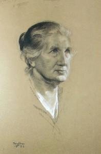 Gustaf Adolf Tenggren - Portrait in chalk of Augusta - mother of the artist - 1932