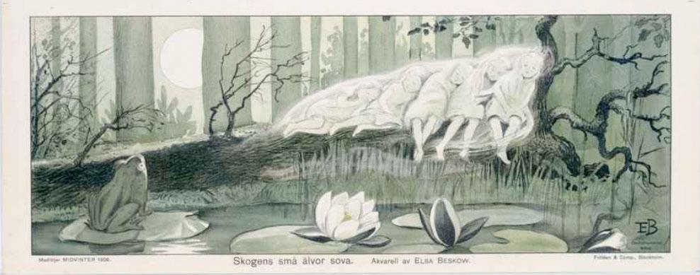 Älvor - Elsa Beskow - Skogens små älvor sova