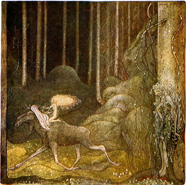 John Bauer - Tuvstarr, älgen Skutt och Skogsrået
