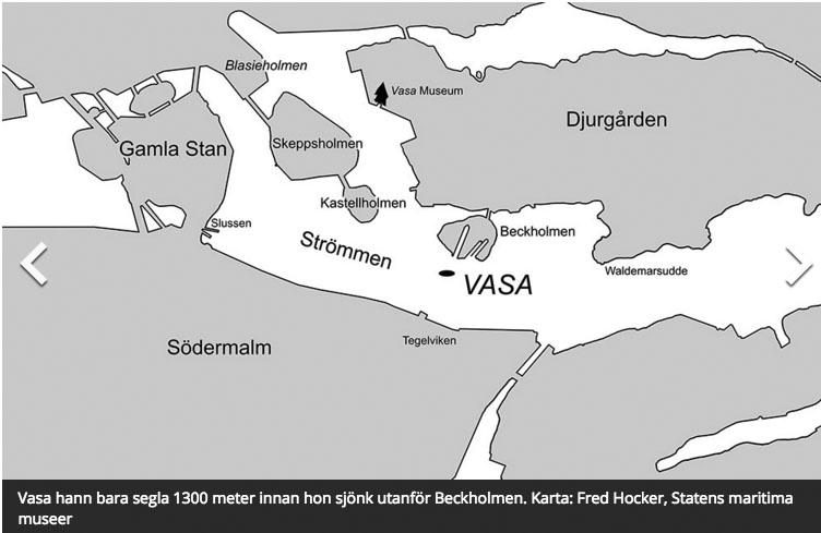 Vasaskeppet - Karta över Stockholms hamn