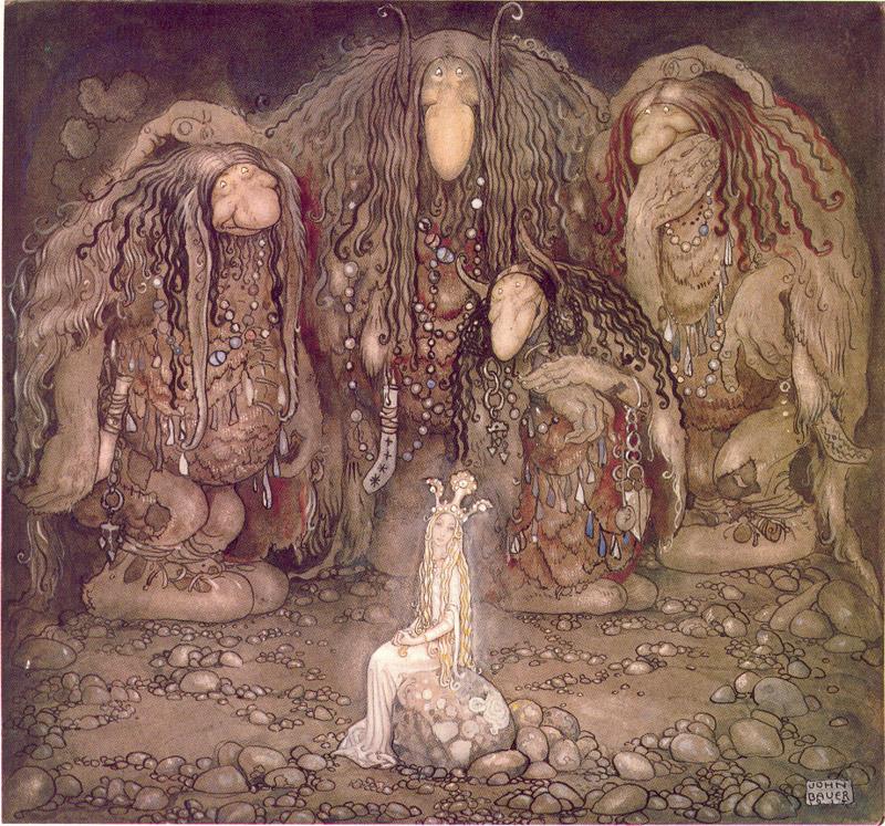 John Bauer - Illustration av Walter Stenströms Pojken och trollen eller Äventyret i Bland tomtar och troll - 1915 - ridotta