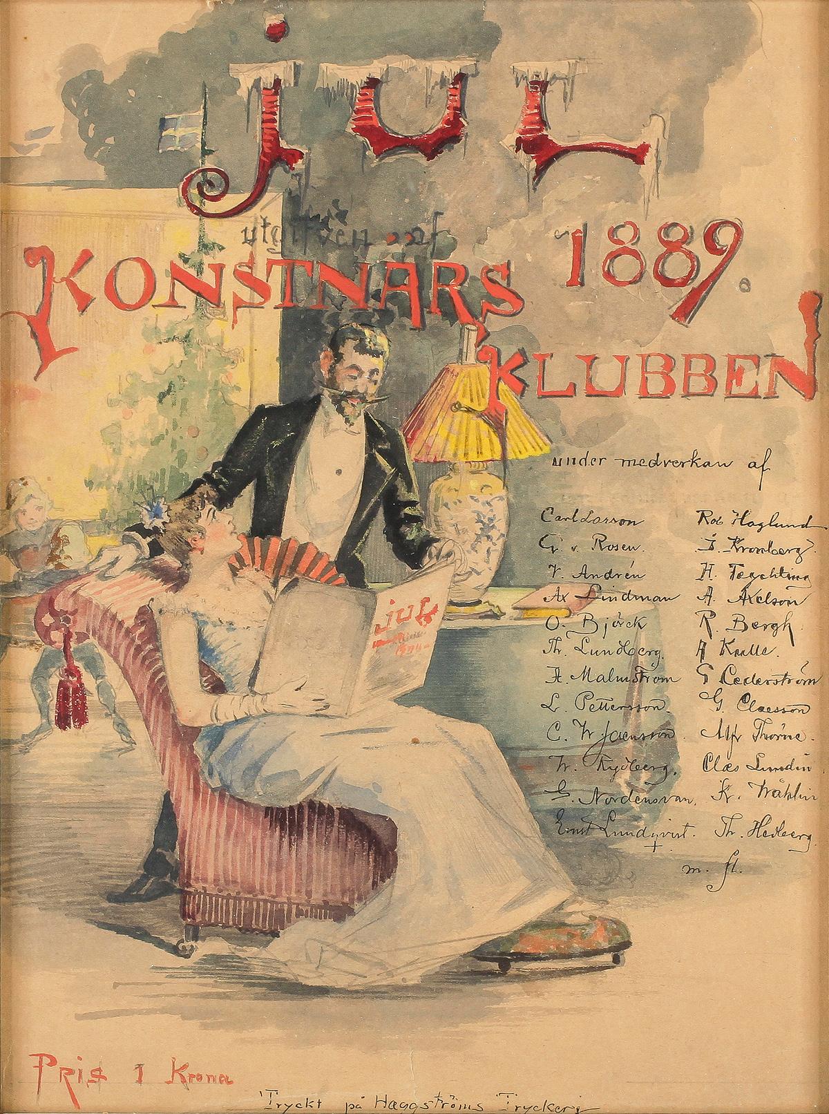 Jul - Förlaga till konstnärsklubbens jultidning - Johan Åkerlund -1889