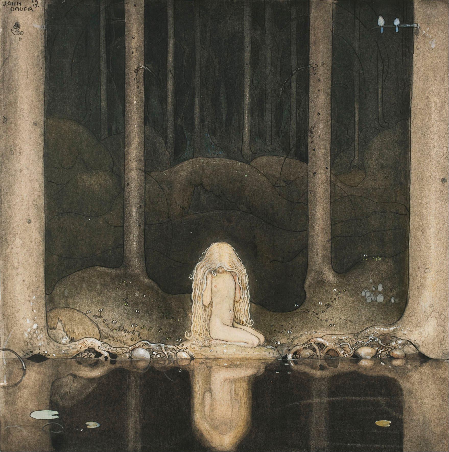 John Bauer - Bland Tomtar och Troll - Sagan om älgtjuren Skutt och lilla prinsessan Tuvstarr -1913