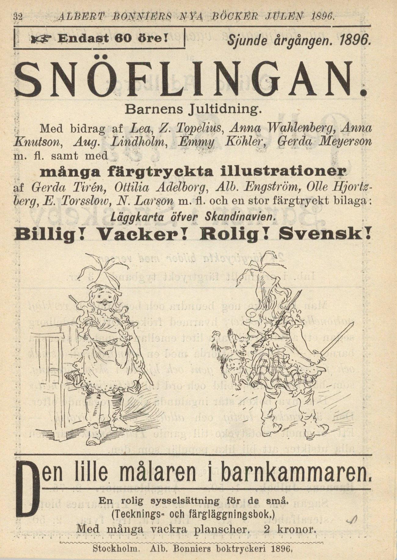 Snöflingan - Pagina pubblicitaria dell'editore - Bonniers förlag reklam - 1896