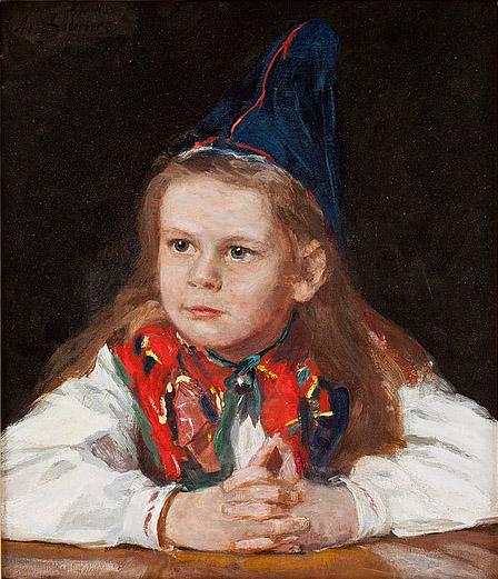 Adele Söderberg - Olja på duk - Ung dalkulla - Ca 36x31 cm